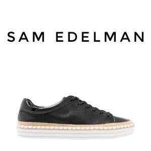 SAM EDELMAN Black Leather Sneakers Size 8.5